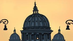 S.Pietro church. S.Pietro domes at the sunset.. Digital illustration Royalty Free Stock Photo