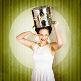 1940s pin up woman in army cook pot. Food service Stock Image
