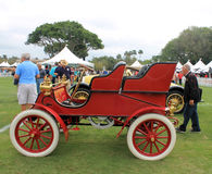 1900s pioneering early american car side. Classic American pioneering red car. 1903 Cadillac model a side view Stock Photos