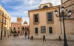 ` S Plaza de la Virgen di St Mary a Valencia Fotografia Stock Libera da Diritti
