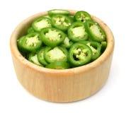 S/poivron verts coupés en tranches Image libre de droits