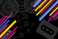 80's pop music background. 80's pop music black disco background with diagonal lines Stock Images