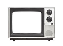 1980's Portable Television Set with Empty Screen Isolated Stock Photo