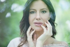 She`s a portrait of beauty. Beauty woman in nature royalty free stock images