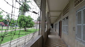 S21 prison, Tuol Sleng genocide museum in phnom penh, cambodia stock footage