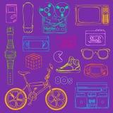 80s przedmiotów Retro kontur Obraz Royalty Free