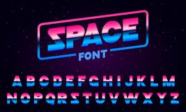 80 s purple neon retro font. Futuristic metal chrome letters. Bright Alphabet on dark background. Light Symbols Sign for. Night show in club. concept of galaxy Stock Photography