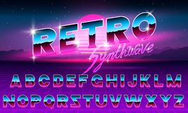 80 s purple neon retro font. Futuristic metal chrome letters. Bright Alphabet on dark background. Light Symbols Sign for. Night show in club. concept of galaxy Stock Photos