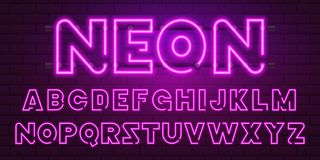 80 s purple neon retro font. Futuristic chrome letters. Bright Alphabet on dark background. Light Symbols Sign for night. 80 s purple neon retro font. Futuristic Royalty Free Stock Image