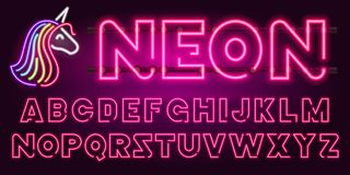 80 s purple neon retro font and unicorn. Futuristic chrome letters. Bright Alphabet on dark background. Light Symbols. Types. Sign for night show in club Royalty Free Stock Photo
