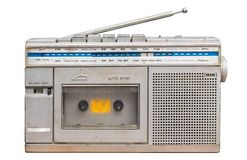 1980s Radio Tape portable music player.White backdrop With Clipping PATH. 1980s Older stereo Radio Tape portable music player.White backdrop With Clipping PATH stock photography