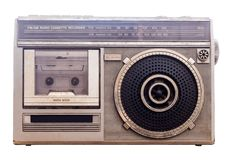 1980s Radio Tape portable music player.White backdrop With Clipping PATH. 1980s Older stereo Radio Tape portable music player.White backdrop With Clipping PATH royalty free stock photos