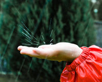 It�s raining. Drops of rain falling on childs hand Royalty Free Stock Images