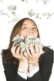 It's raining bucks ;) - business woman with glasses Royalty Free Stock Images