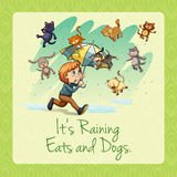 It's raining cats and dogs idiom. Illustration royalty free illustration