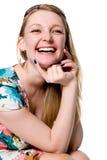 20s. Retrato de la muchacha alegre. Fotos de archivo libres de regalías