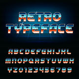 80's retro alphabet font. Chrome effect shiny oblique letters and numbers. Vector typeface for your design Stock Images
