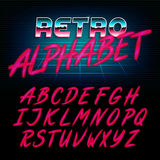 80`s retro alphabet font. Glow effect shiny letters. Vector typeface for flyers, headlines, posters etc Royalty Free Stock Photos
