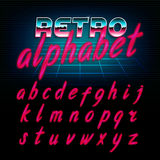 80`s retro alphabet font. Glow effect shiny lowercase letters. Vector typeface for flyers, headlines, posters etc Stock Photo