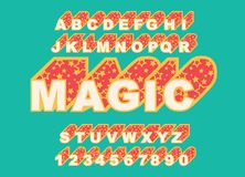 80 s retro alphabet font. Magic Vector typography for flyers. Headlines, posters. Effect star letters. 80s neon style, vintage dance night. Retro Font Alphabet stock illustration