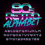 80`s retro alphabet font. Metal effect letters and numbers. Stock vector typeface for any typography design Stock Image