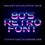80's retro alphabet font. Metallic effect shiny letters and numbers. Light glare sparkle. Vector font for flyers, headlines, posters etc Stock Illustration