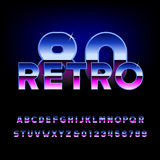 80's retro alphabet font. Metallic effect shiny letters and numbers. Light glare sparkle. Vector typeface Stock Illustration
