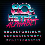 80`s retro alphabet font. Metallic effect type letters and numbers. Vector typeface for your design Royalty Free Stock Photos