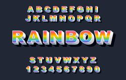 80 s retro alphabet font. Rainbow Vintage Alphabet vector. 80 s, 90 s Old style graphic poster set. Eighties style graphic template. Template easy editable for stock illustration