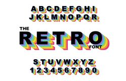 80 s retro alphabet font. Rainbow Vintage Alphabet vector. 80 s, 90 s Old style graphic poster set. Eighties style graphic template. Template easy editable for royalty free illustration