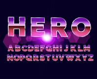 80`s retro alphabet font. Sci-fi future style. Vector typeface for flyers, headlines, posters etc Stock Image