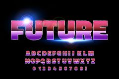 80`s retro alphabet font. Sci-fi future style. Vector typeface for flyers, headlines, posters etc Royalty Free Stock Photography