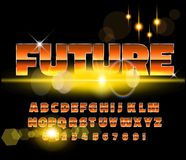 80`s retro alphabet font. Sci-fi future style. Vector typeface for flyers, headlines, posters etc stock illustration