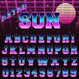 80s retro alphabet font template. Vintage letters and numbers vintage design. Vector illustration Royalty Free Stock Photos