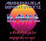 80 s retro alphabet font. Vector typography elements design. 80 s retro alphabet font. Vector typography for flyers, headlines, posters. Effect shiny letters vector illustration
