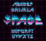 80 s retro alphabet font. Vector typography for flyers, headlines, posters. Effect shiny letters. 80s neon style, vintage dance night. Retro Futurism Sci-Fi Royalty Free Stock Photography