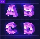 80 s retro alphabet font. Metallic effect type letters and numbers. 80 s retro alphabet. Metallic font effect type letters and numbers. Vector typeface for your royalty free illustration