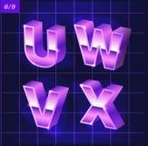 80 s retro alphabet font. Metallic effect type letters and numbers. 80 s retro alphabet. Metallic font effect type letters and numbers. Vector typeface for your vector illustration