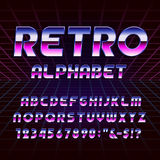 80's retro alphabet vector font. Metallic effect letters and numbers on the 80's style background. Vector typography for flyers, headlines, posters etc Stock Photo