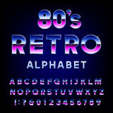 80's retro alphabet vector font. Metallic effect shiny letters and numbers. Vector typography for flyers, headlines, posters etc Stock Photo