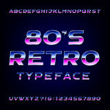 80's retro alphabet vector font. Metallic effect shiny letters and numbers. Royalty Free Stock Image