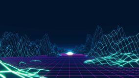 80s retro background loop animation. Retrowave horizon landscape with neon lights and low poly terrain