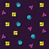 90s retro background pattern. With dots squares and triangles vector illustration graphic design Royalty Free Illustration