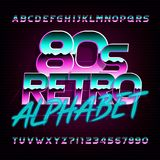 80s retro beveled alphabet font. Metallic effect bright colorful letters. Royalty Free Stock Photos