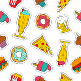 90s retro fast food patch icon seamless pattern. Hand drawn doodle seamless pattern with retro fast food patch icons, beer, pizza, milkshake, burger and more Royalty Free Illustration