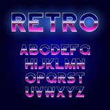 80`s Retro font design. Shiny futurism alphabet with metallic effect. Sci-Fi typeface. Vector Royalty Free Stock Photos