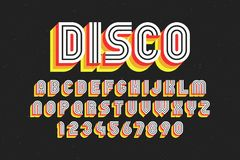 80`s retro font, disco style. Alphabet and numbers vector illustration Royalty Free Stock Photos