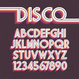 80`s Retro Font. Vector disco alphabet Stock Images