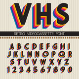 90`s Retro Font. Vector VHS alphabet Stock Photography