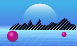 80s Retro future background. Vector futuristic synth retro wave illustration in 1980s posters style.  Royalty Free Stock Image
